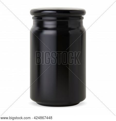 Candle Bottle. Black Glass Apothecary Jar, Cosmetic Wax Glossy Packaging Mockup. Supplement Pill Con