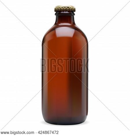 Beer Bottle Brown Glass Blank. Cold Alcohol Drink, Wine, Cider Or Soda Beverage With Cap. Amber Cont