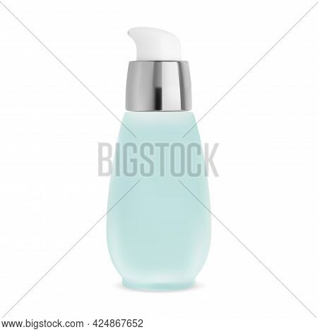 Pump Bottle. Airless Cosmetic Jar, Chamomile Water Can. Serum Lotion Dispenser Packaging Template. F