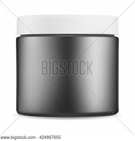 Black Cosmetic Jar. Gloss Plastic Cream Package, White Lid Bottle Mockup. Small Beauty Butter Contai