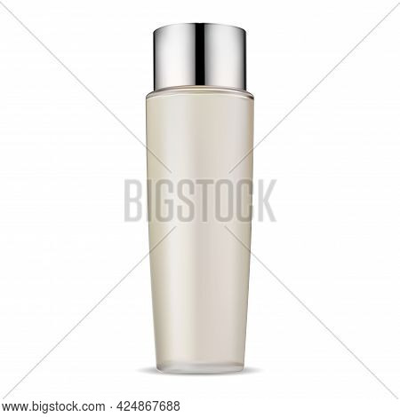 Cosmetic Bottle Glass Package Mock Up, Hair Conditioner Jarwith Silver Lid, Realistic Vector Illustr