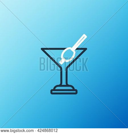 Line Martini Glass Icon Isolated On Blue Background. Cocktail Icon. Wine Glass Icon. Colorful Outlin