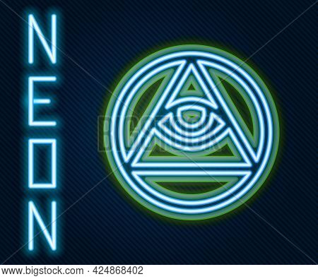 Glowing Neon Line Masons Symbol All-seeing Eye Of God Icon Isolated On Black Background. The Eye Of