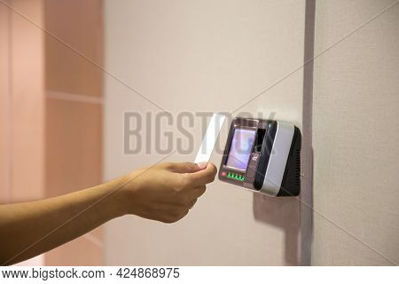 Proximity Card Reader Door Unlock, Close Up Hand Of Security Man Using Id Card Scanning At The Acces