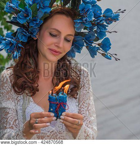 Bride Nymph At Water, Slavic Rituals, Pagan Magic Scene, Nature Power Concept