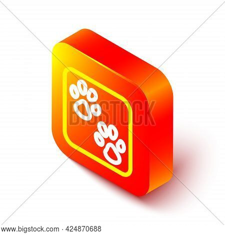 Isometric Line Paw Print Icon Isolated On White Background. Dog Or Cat Paw Print. Animal Track. Oran
