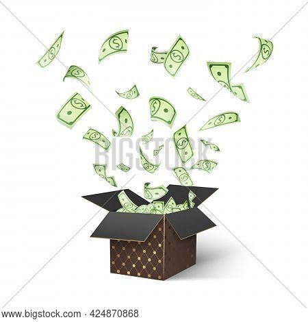 Dollar Paper Currency Explosion Out Brown Luxury Textured Box. Win Money Prizes Isolated Vector Desi