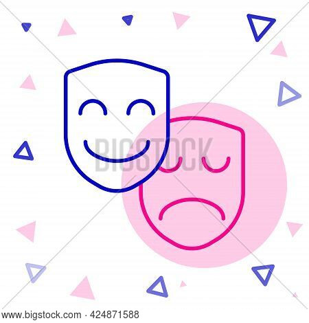 Line Comedy And Tragedy Theatrical Masks Icon Isolated On White Background. Colorful Outline Concept