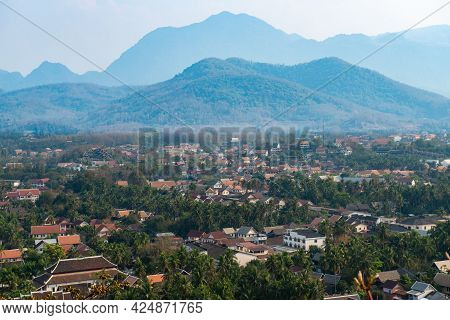 View Of Luang Prabang Town From The Top Of Mt.phu Si (or Mt.phou Si) High Hill In The Centre Of The