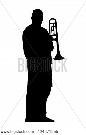 Black Silhouette Of A Trumpeter On A White Background. The Musician Stands At Full Height With A Tru