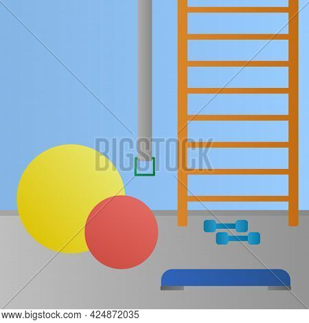 Physiotherapy Room With Sport Equipment. Medical Rehabilitation Center. Vector Illustration.