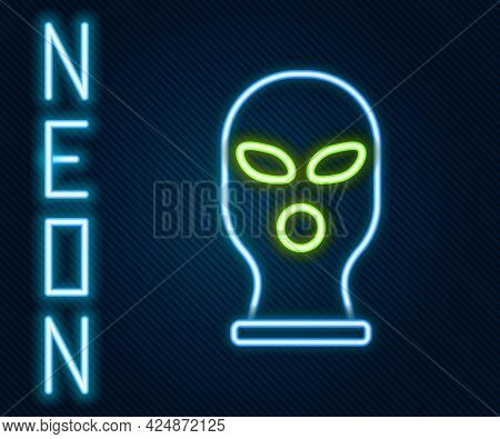 Glowing Neon Line Balaclava Icon Isolated On Black Background. A Piece Of Clothing For Winter Sports