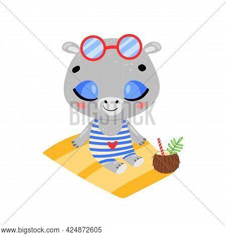 Flat Doodle Cute Cartoon Summer Hippo Sunbathing On The Beach. Tropical Jungle Animals