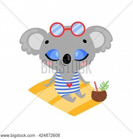 Flat Doodle Cute Cartoon Summer Koala Sunbathing On The Beach. Tropical Jungle Animals