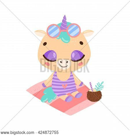 Flat Doodle Cute Cartoon Summer Unicorn Sunbathing On The Beach. Tropical Jungle Animals