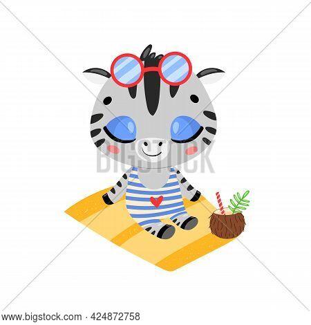 Flat Doodle Cute Cartoon Summer Zebra Sunbathing On The Beach. Tropical Jungle Animals