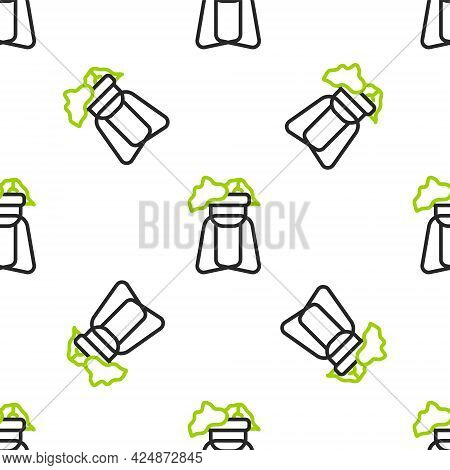Line Potted House Plant On Stand Icon Isolated Seamless Pattern On White Background. Plant Growing I