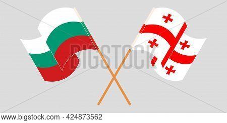 Crossed And Waving Flags Of Georgia And Bulgaria