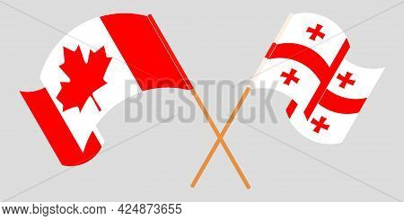 Crossed And Waving Flags Of Georgia And Canada
