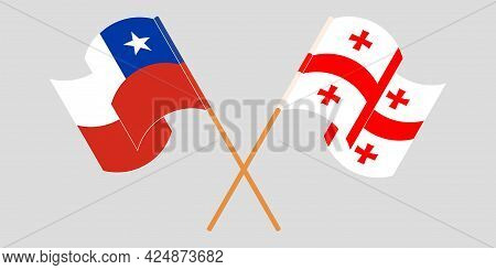 Crossed And Waving Flags Of Georgia And Chile