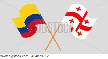 Crossed And Waving Flags Of Georgia And Colombia