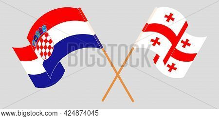 Crossed And Waving Flags Of Georgia And Croatia