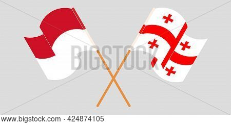 Crossed And Waving Flags Of Georgia And Indonesia