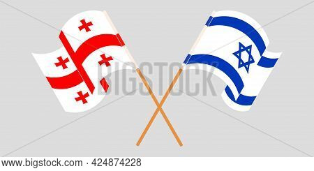 Crossed And Waving Flags Of Georgia And Israel