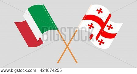 Crossed And Waving Flags Of Georgia And Italy