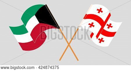 Crossed And Waving Flags Of Georgia And Kuwait