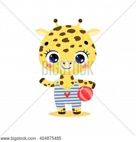 Flat Vector Illustration Of Cute Cartoon Summer Tropical Animals On The Beach. Baby Giraffe With Bea
