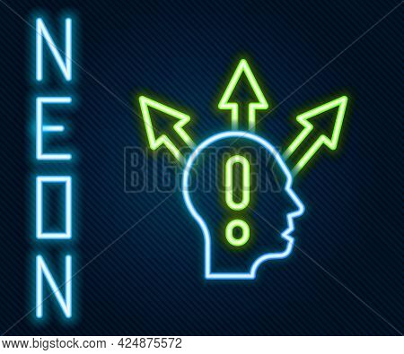 Glowing Neon Line Project Team Base Icon Isolated On Black Background. Business Analysis And Plannin