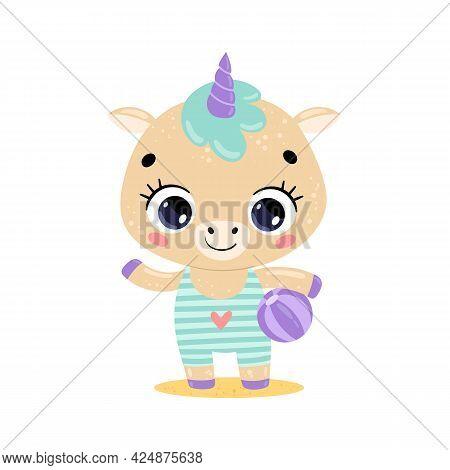 Flat Vector Illustration Of Cute Cartoon Summer Tropical Animals On The Beach. Baby Pony Unicorn Wit