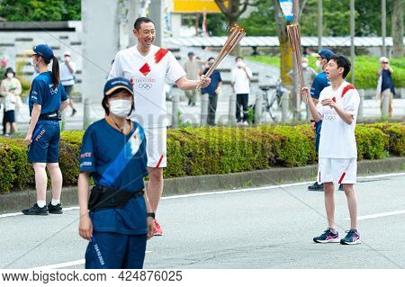 Fuji City, Shizuoka-ken, Japan - June 24, 2021: Tokyo 2020 Olympic Torch Relay In Fuji City, Japan.
