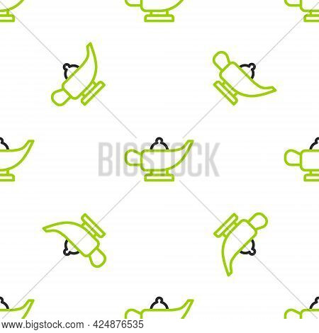Line Magic Lamp Or Aladdin Lamp Icon Isolated Seamless Pattern On White Background. Spiritual Lamp F