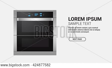 Realistic Kitchen Stove Front View Of Cooker With Oven Home Appliance Concept Isolated Copy Space