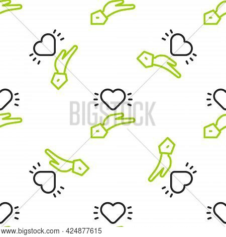 Line Pleasant Relationship Icon Isolated Seamless Pattern On White Background. Romantic Relationship