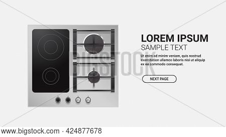 Combined Gas And Electric Hob Top View Of Kitchen Stove Domestic Equipment Home Appliance Concept