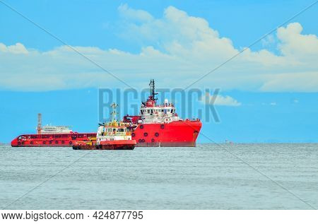 Labuan,malaysia-may 20,2021:view Of Offshore Vessels In Labuan Ft,malaysia.its Specially Designed Sh