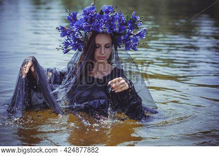 Black Bride At Water, Slavic Rituals, Pagan Magic Scene, Old Magic Power Concept