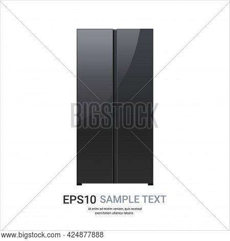 Black Refrigerator Side By Side Fridge Freezer Modern Kitchen Household Home Appliance Concept