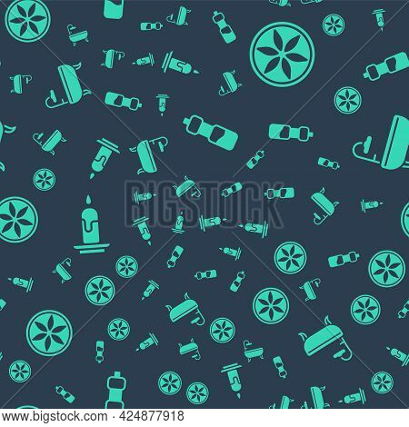 Set Bottle Of Water, Leaf Plant Nature, Burning Candle And Bathtub On Seamless Pattern. Vector