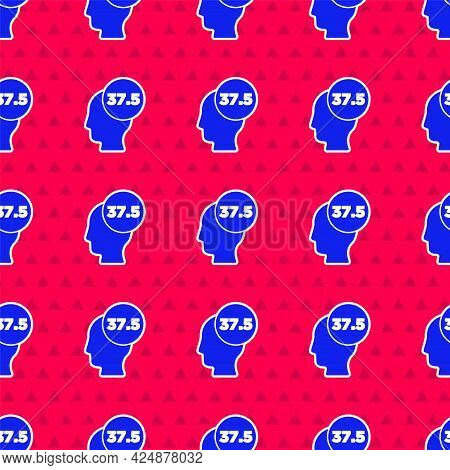 Blue High Human Body Temperature Or Get Fever Icon Isolated Seamless Pattern On Red Background. Dise