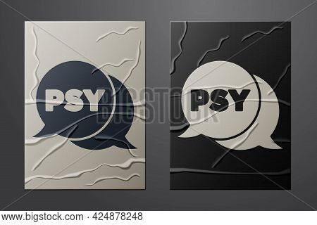 White Psychology Icon Isolated On Crumpled Paper Background. Psi Symbol. Mental Health Concept, Psyc
