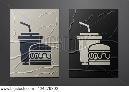 White Paper Glass With Drinking Straw And Burger Icon Isolated On Crumpled Paper Background. Soda Aq