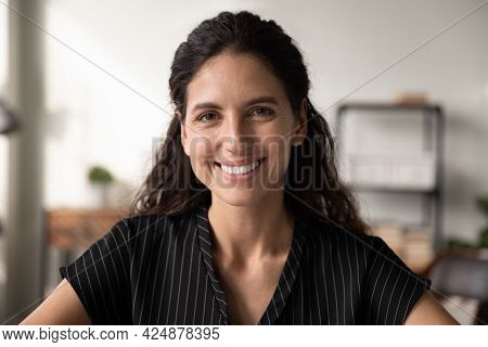 Headshot Picture Of Smiling Young Caucasian Woman