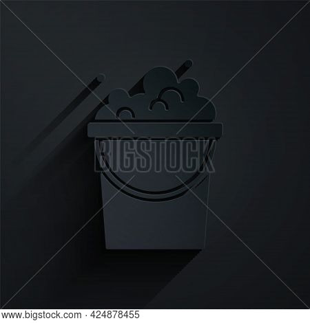 Paper Cut Bucket With Soap Suds Icon Isolated On Black Background. Bowl With Water. Washing Clothes,
