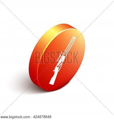 Isometric Hunting Gun Icon Isolated On White Background. Hunting Shotgun. Orange Circle Button. Vect