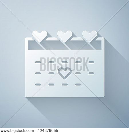 Paper Cut Calendar With Heart Icon Isolated On Grey Background. Valentines Day. Love Symbol. Februar