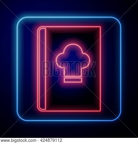 Glowing Neon Cookbook Icon Isolated On Black Background. Cooking Book Icon. Recipe Book. Fork And Kn